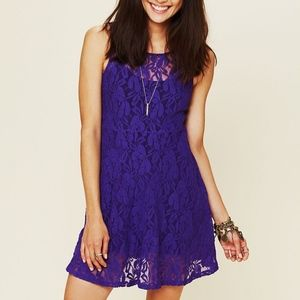 NEW FREE PEOPLE MILES OF LACE ROYAL PURPLE DRESS M